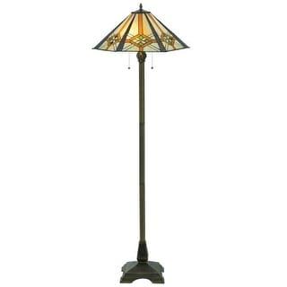 "Meyda Tiffany 118694 61"" H Crosshairs Mission Hex Floor Lamp - Grey"