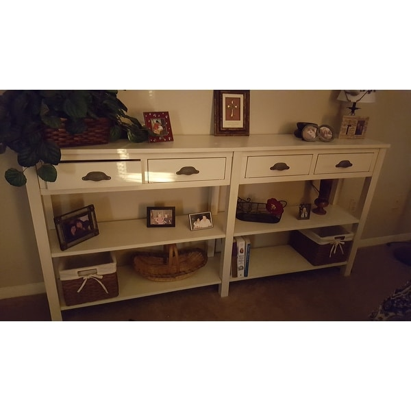 Shop Powell Brigid Cream Crackle Finish Wood Console Table   Free Shipping  Today   Overstock.com   9409271