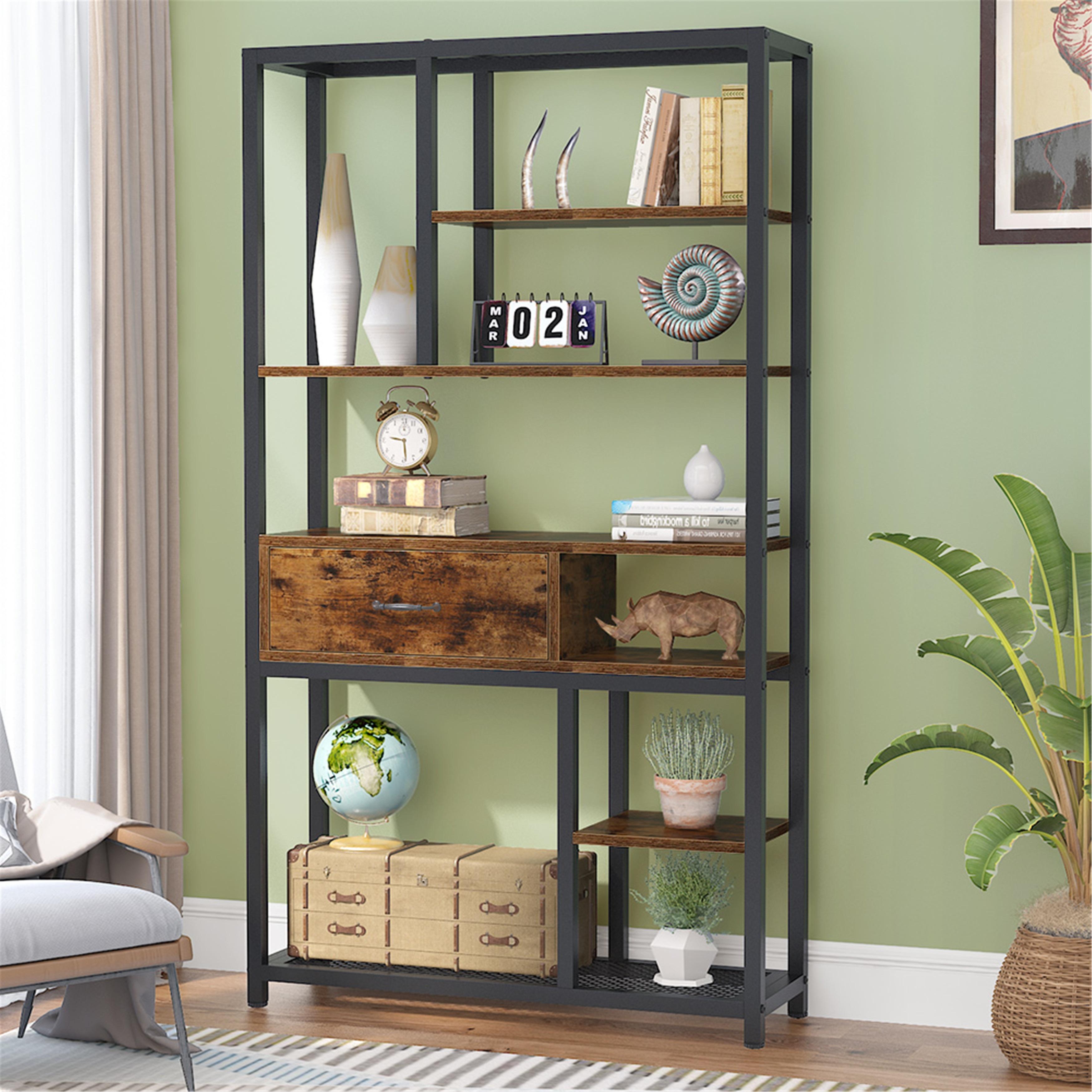 Retro Bookshelf Rustic 8 Tier Display Shelf With Drawers Rustic Brown Overstock 31864566