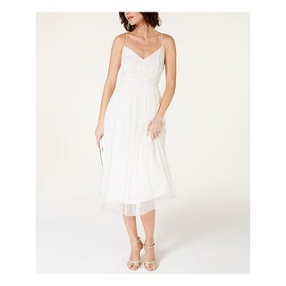 Link to ADRIANNA PAPELL Ivory Spaghetti Strap Below The Knee Dress 6 Similar Items in Tops