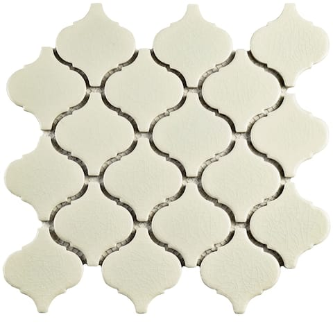 SomerTile 9.75x10.25-inch Victorian Morocco Crackle White Ceramic Mosaic Floor and Wall Tile (10 tiles/7 sqft.)
