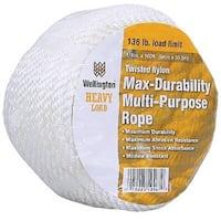 "Wellington 11002 Twisted Nylon Multi-Purpose Rope, 1//2"" x 50', Silvery White"