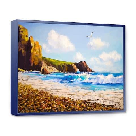 Designart 'Sea with Seagull' Landscape Art Print Framed Canvas