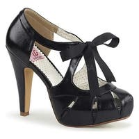 Pin Up Couture Women's Bettie 19 Tie Front Pump Black Faux Leather