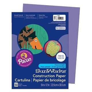 SunWorks Heavyweight Construction Paper, 9 x 12 Inches, Violet, Pack of 50