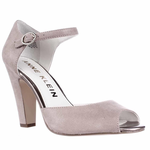 Anne Klein Henrika Ankle Strap Peep Toe Heels, Taupe