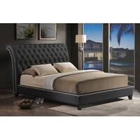 Jazmin Black Faux Leather Platform Bed w/Tufted Headboard (Queen)