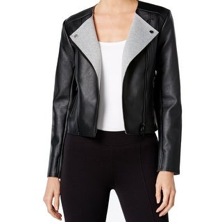 Michael Kors NEW Black Women's Medium M Motorcycle Faux-Leather Jacket