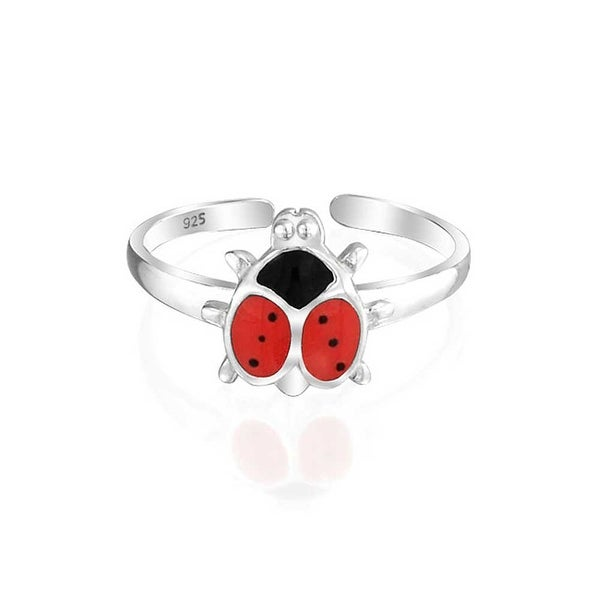 Lucky Red Black Ladybug Shape Garden Midi Thin Band Toe Ring For Women 925 Silver Sterling Adjustable