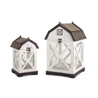 14.5 Set of 2 Barn Lanterns (White