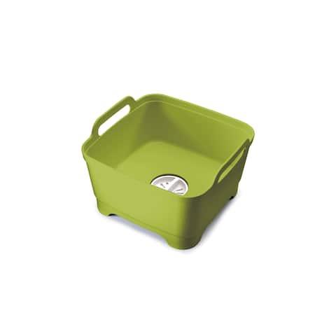 Joseph Joseph 85059 Wash and Drain Dish Tub with Draining Plug 12.4-inch x 12.2-inch x 7.5-inch, Gren - Green
