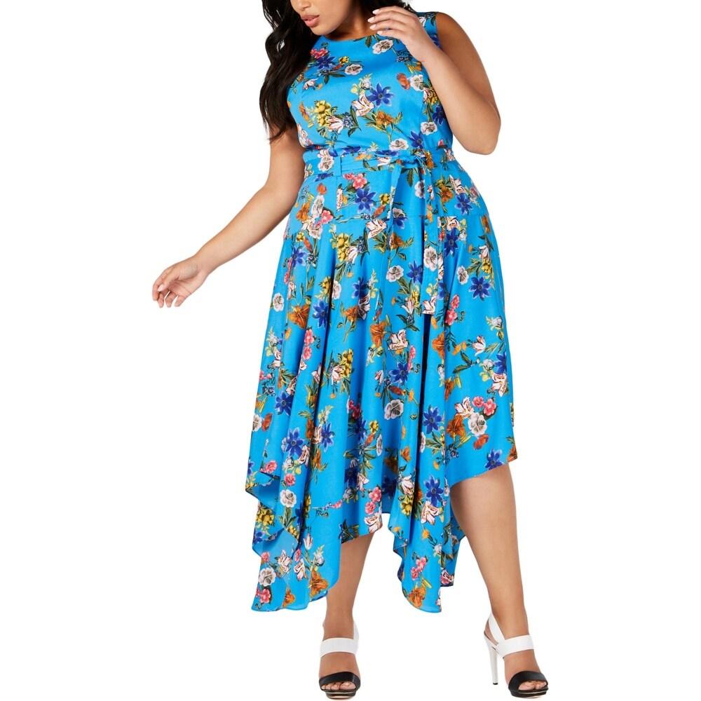 Calvin Klein Womens Plus Midi Dress Floral Print Handkerchief Hem - Ocean
