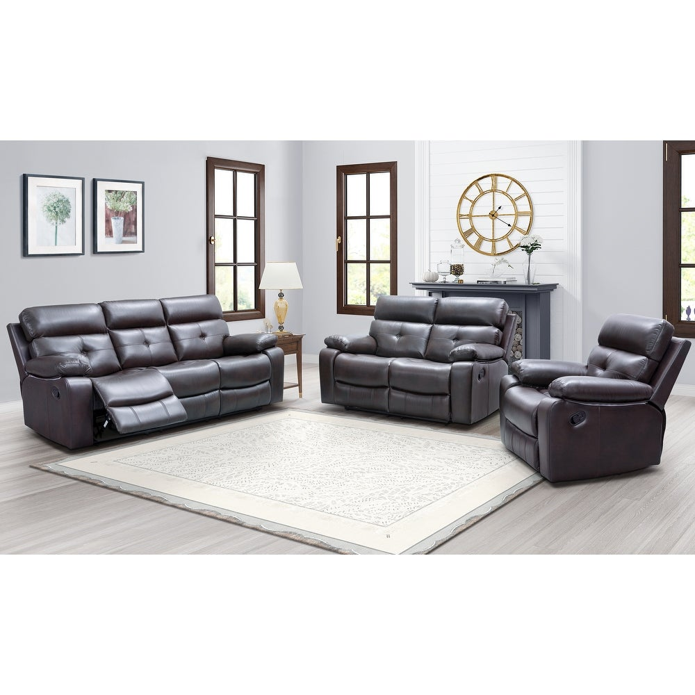 3-Piece Augusta Reclining Sofa, Loveseat and Chair Set