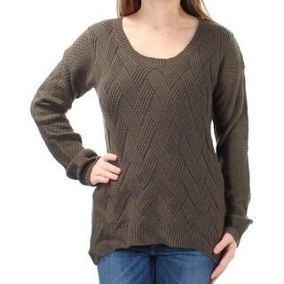 Womens Green Long Sleeve Jewel Neck Sweater Size M