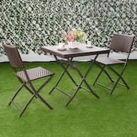 Costway 3 PC Outdoor Folding Table Chair Furniture Set Rattan Wicker Bistro Patio Brown