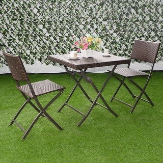 Costway 3 PC Outdoor Folding Table Chair Furniture Set Rattan Wicker Bistro Patio Brown & Outdoor Bistro Sets For Less | Overstock.com