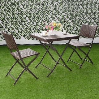 outdoor table and chair sets. Costway 3 PC Outdoor Folding Table Chair Furniture Set Rattan Wicker Bistro Patio Brown And Sets