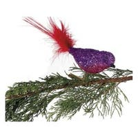 Purple & Pink Glitter Glass Bird Clip-On with Red Feather Tail