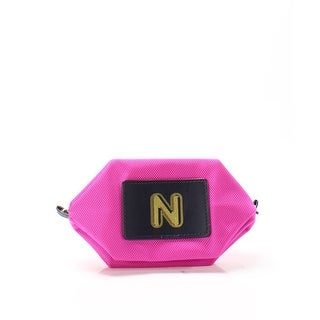 "Boulevard NEW Bright Pink Monogram ""N"" Nylon Zip Bubble Cosmetic Pouch-"