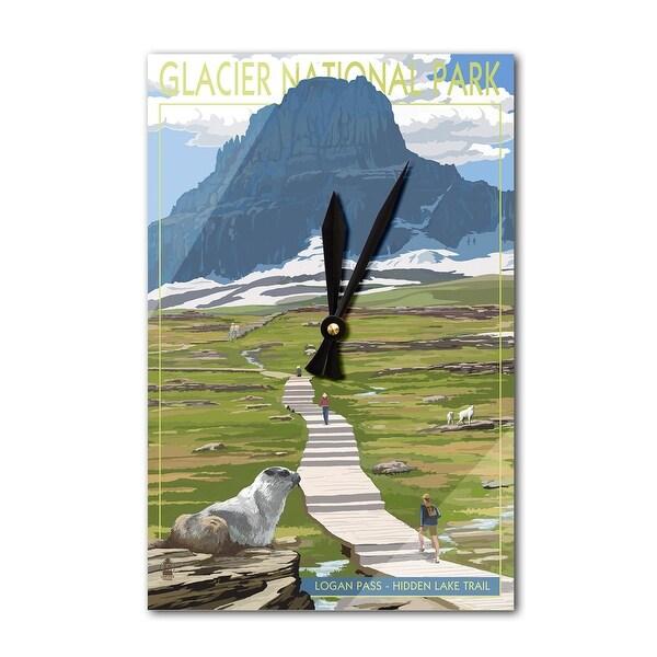 Glacier Park, MT - Logan Pass - LP Artwork (Acrylic Wall Clock) - acrylic wall clock