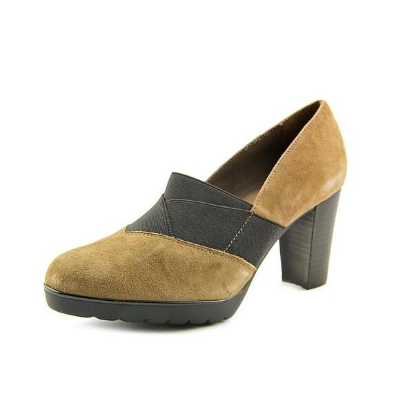Bella Vita Zeta Women WW Round Toe Suede Brown Heels
