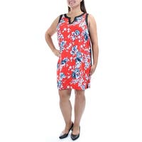 KENSIE Womens Red Floral Sleeveless V Neck Above The Knee Sheath Dress  Size: L