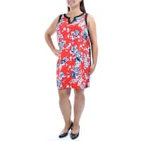 KENSIE Womens Red Floral Sleeveless V Neck Above The Knee Sheath Dress  Size: M