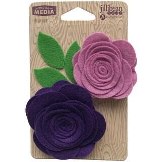 Jillibean Soup Mix The Media Felt Flowers 2/Pkg-Pocket Of Purple