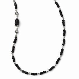 Silvertone Downton Abbey Acrylic & Silvertone Bead Necklace - 36in