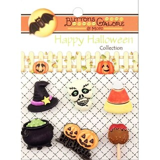 Buttons Galore Halloween Buttons 6/Pkg-Witchy