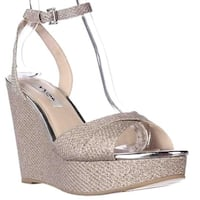Nina Gianina Wedge Platform Evening Sandals, Silver Diamond - 10 us