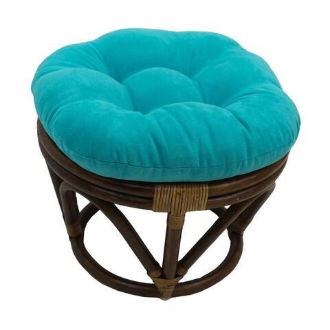 International Caravan Bali Papasan Footstool with Microsuede Cushion