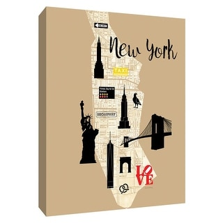 """PTM Images 9-148592  PTM Canvas Collection 10"""" x 8"""" - """"City Graphic Map New York"""" Giclee Buildings & Landmarks Art Print on"""