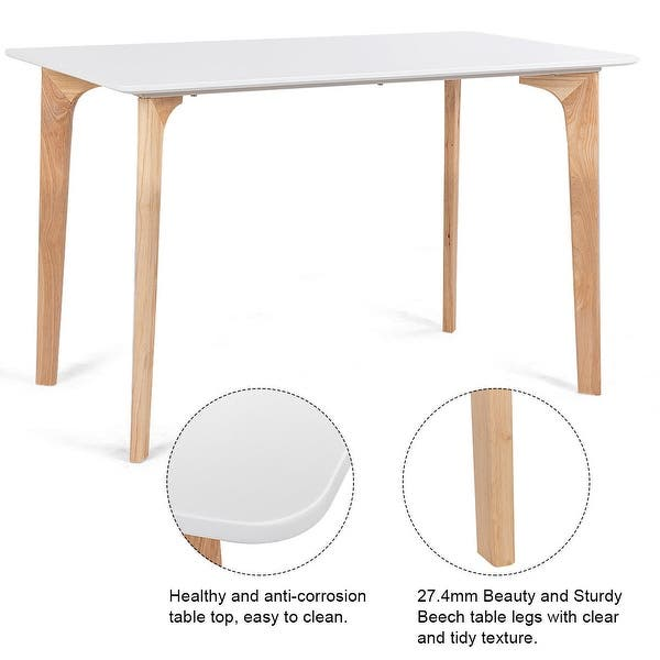 Gymax Mid Century Modern Dining Table Rectangular Top