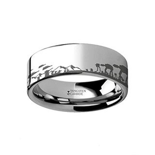 Thorsten Star Wars Titanium Ring Hoth Battle Scene Alliance Galactic Imperial ATAT ATST Engraved Ring Jedi Sith Invasion