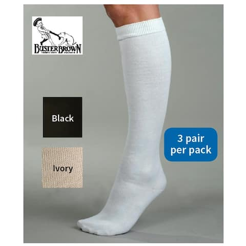 Women's Buster Brown Knee High Cotton Socks - Black White or Ivory - 3 Pairs per Pack