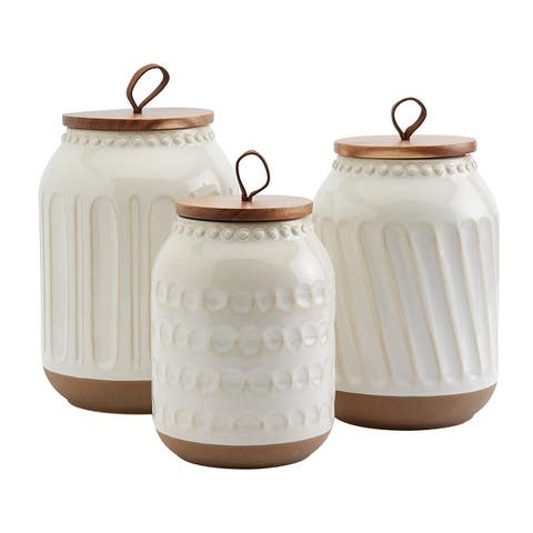 Tabletops Gallery 3PC Ziggy Canisters with Acacia Wood Lid