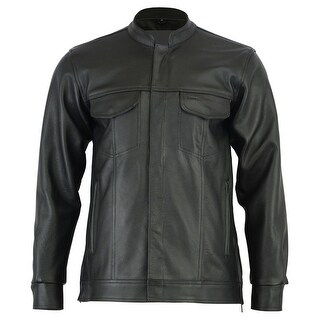 Men's Full Cut Leather Shirt with Zipper Snap Front