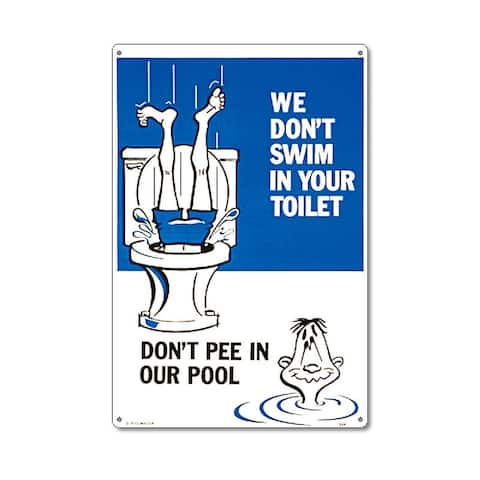 """18"""" White and Blue Funny Residential Swimming Pool Sign"""