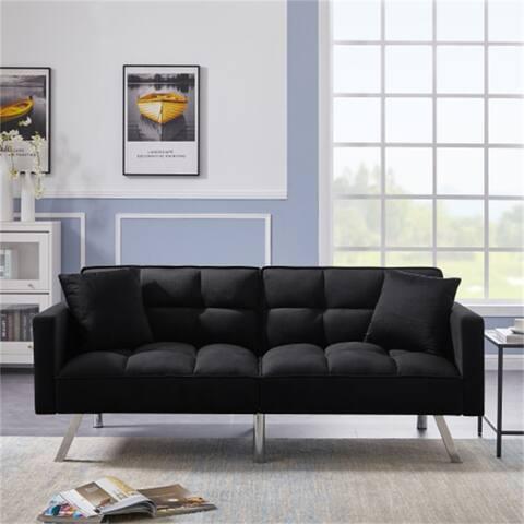 Sleeper Sofa With Tight Square Arms,Backrest,Black Velvet Futon - 74.8x33.2x31.8