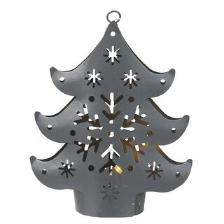 Gray Petite Tree Lighted Cut Out Christmas Ornament