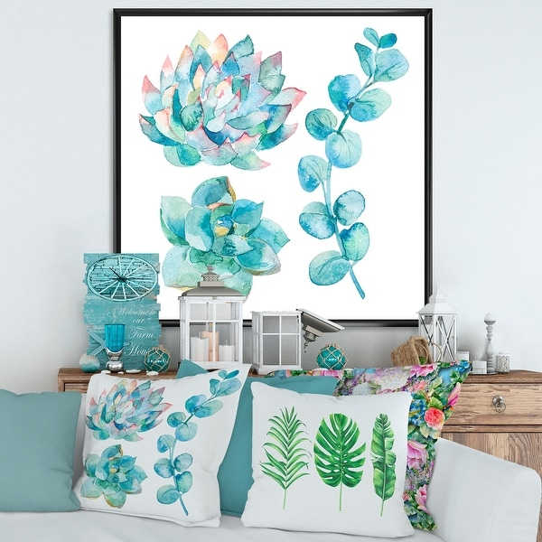 Designart 'Eucalyptus Leaves and Succulents' Traditional Framed Canvas Wall Art Print. Opens flyout.