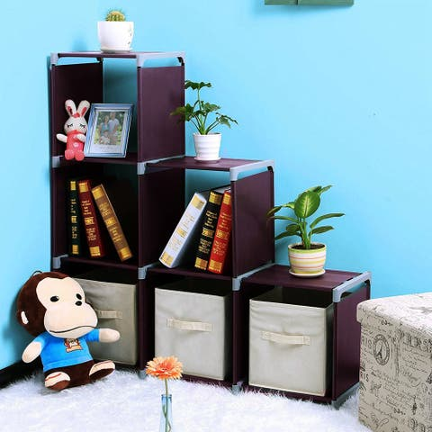 Multifunctional Assembled 3 Tiers 6 Compartments Storage Shelf