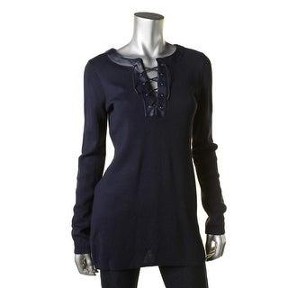 Lauren Ralph Lauren Womens Pullover Sweater Lace-Up Faux Leather Trim
