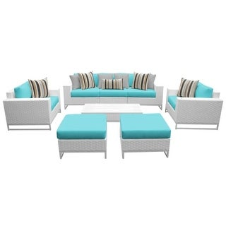 Florida 8-Piece Aluminum Framed Outdoor Conversation Set with Ottomans