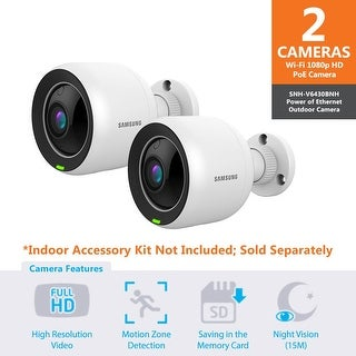 2 Pack SNH-V6430BN - Samsung Full HD WiFi 1080p PoE Outdoor Home Monitoring Camera
