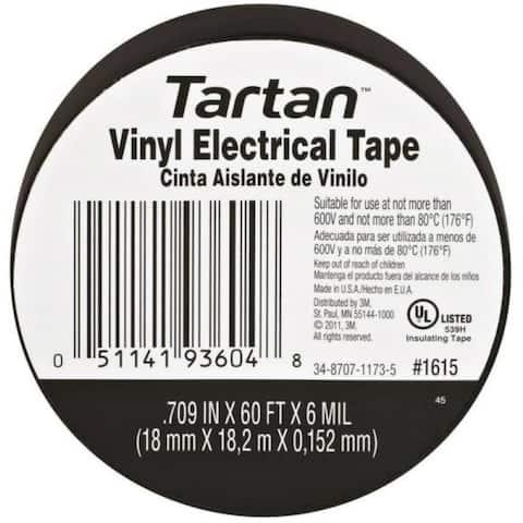"3M 1615 Tartan Vinyl Electrical Tape, 0.709"" x 60' x 6 mil"