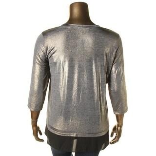 Karen Kane Womens Plus Pullover Top Metallic Sheer Hem
