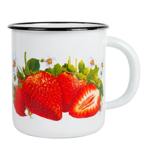 STP-Goods 13.5-oz Strawberry White Enamelware Mug