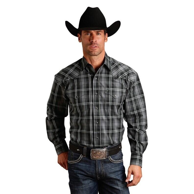 Stetson Mens Black 100/% Cotton Charcoal Plaid L//S Shirt